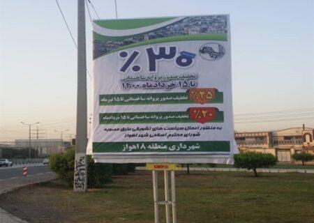 تخفیف ۳۰درصدی صدور پروانه های ساختمانی ویژه ۱۵ خرداد ماه ۱۴۰۰ در شهرداری اهواز